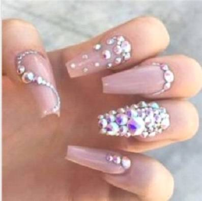 Coffin nails with rhinestone