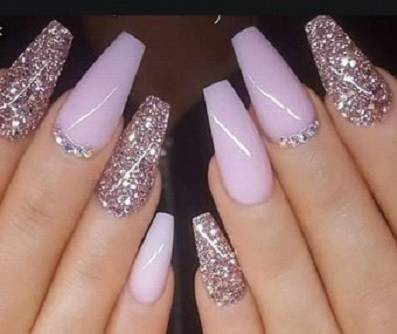 ⦁ coffin nails with rhinestone