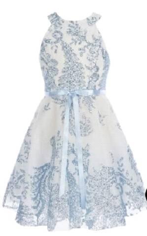 Flare dress with glitter halter neck