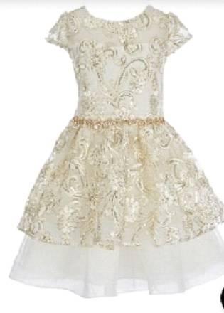 Metallic fit flare dress