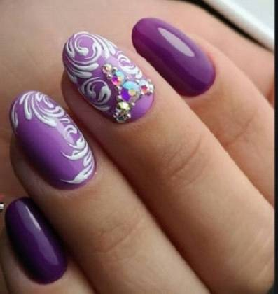 Purple nail designs with rhinestone