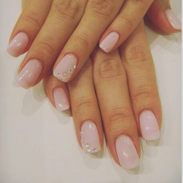 pink nails with diamonds