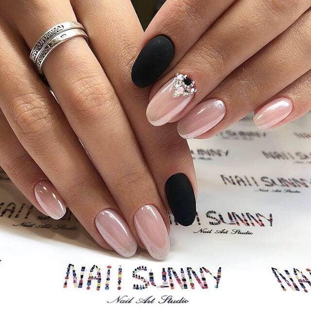 matte black with metallic pink nails
