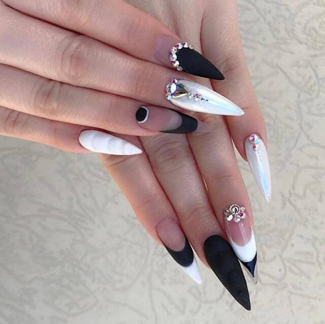 diamonds and pearls in black and white nails