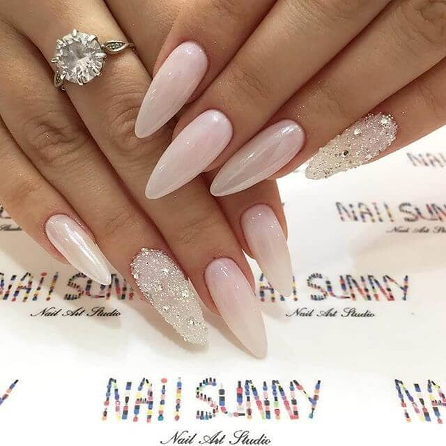 pink with silver diamonds nails