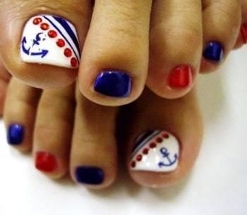 anchor toe nail design