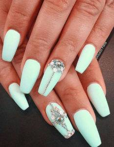 pastel green blue diamonds nails