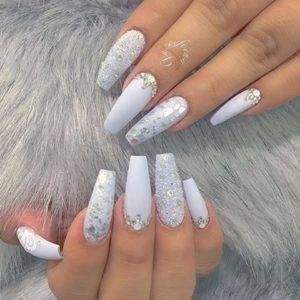 crushed diamond design nails
