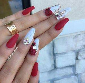 blue and red diamond nails