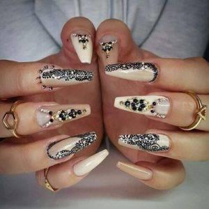 black diamonds and lace nails